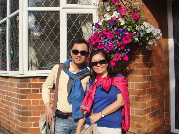 It wasn't that sunny - the sunglasses just made us look cool - the entrance of B & B